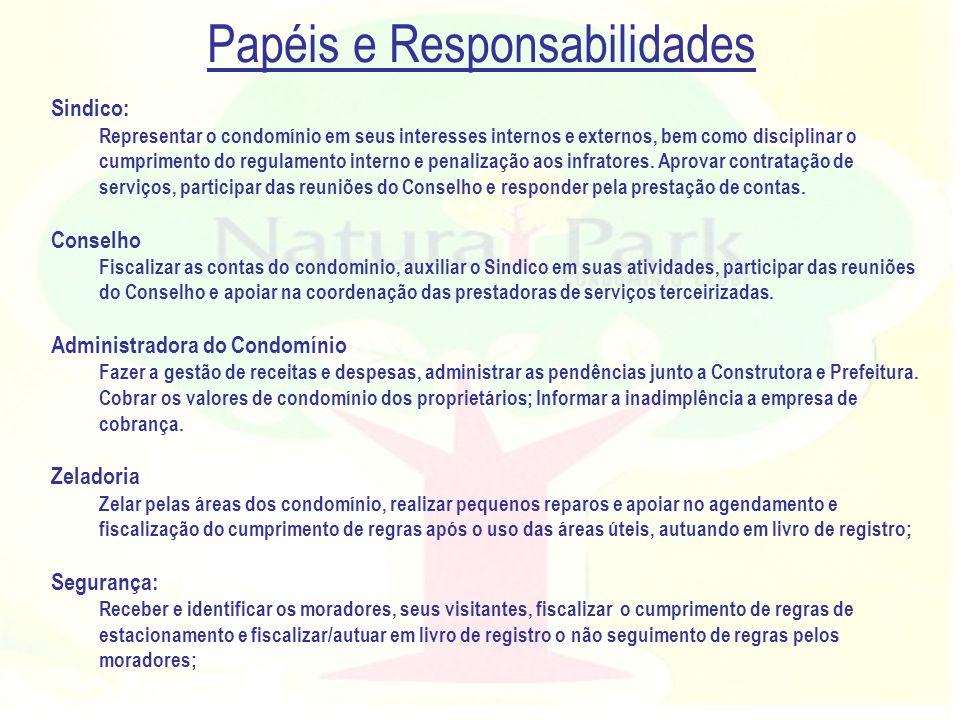 Papéis e Responsabilidades Sindico: Representar o condomínio em seus interesses internos e externos, bem como disciplinar o cumprimento do regulamento