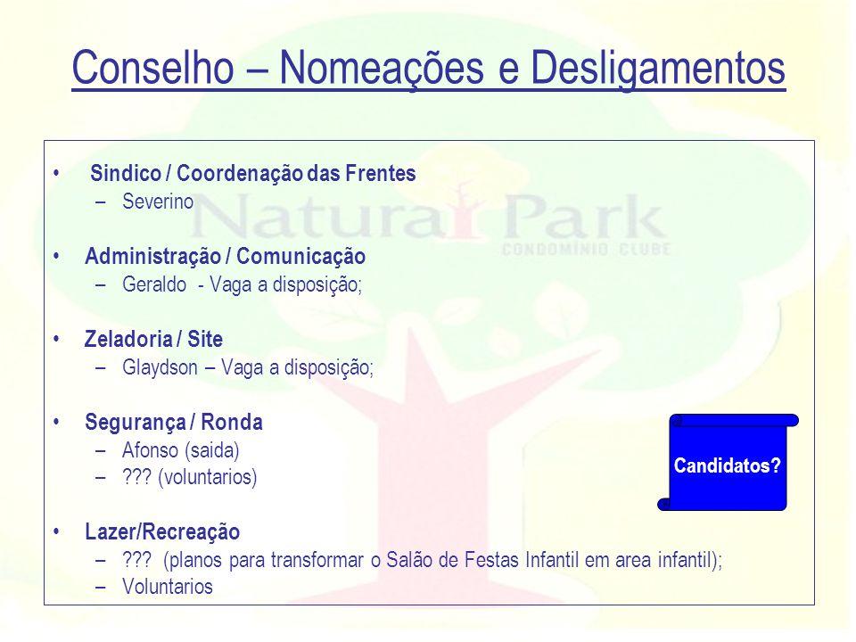 Conselho – Nomeações e Desligamentos Sindico / Coordenação das Frentes –Severino Administração / Comunicação –Geraldo - Vaga a disposição; Zeladoria /