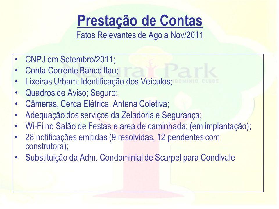 Prestação de Contas Fatos Relevantes de Ago a Nov/2011 CNPJ em Setembro/2011; Conta Corrente Banco Itau; Lixeiras Urbam; Identificação dos Veículos; Q