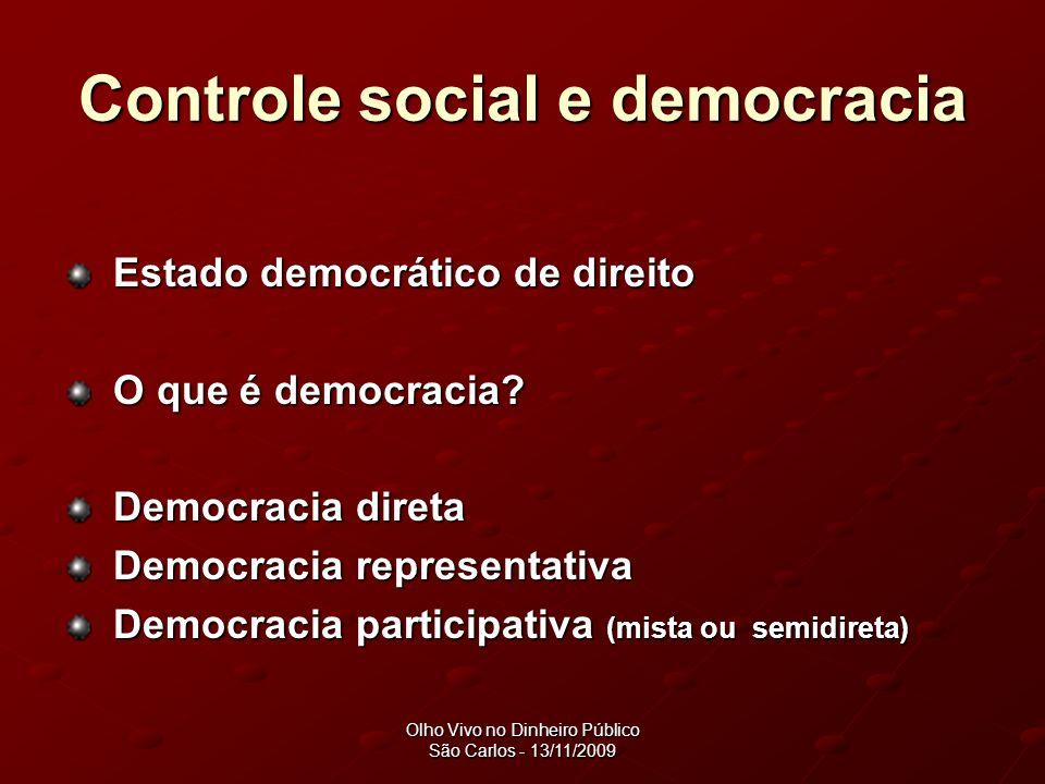 Olho Vivo no Dinheiro Público São Carlos - 13/11/2009 Democracia Democracia representativa -Participação episódica (eleições), seguida de um distanciamento entre o eleitor e o eleito.