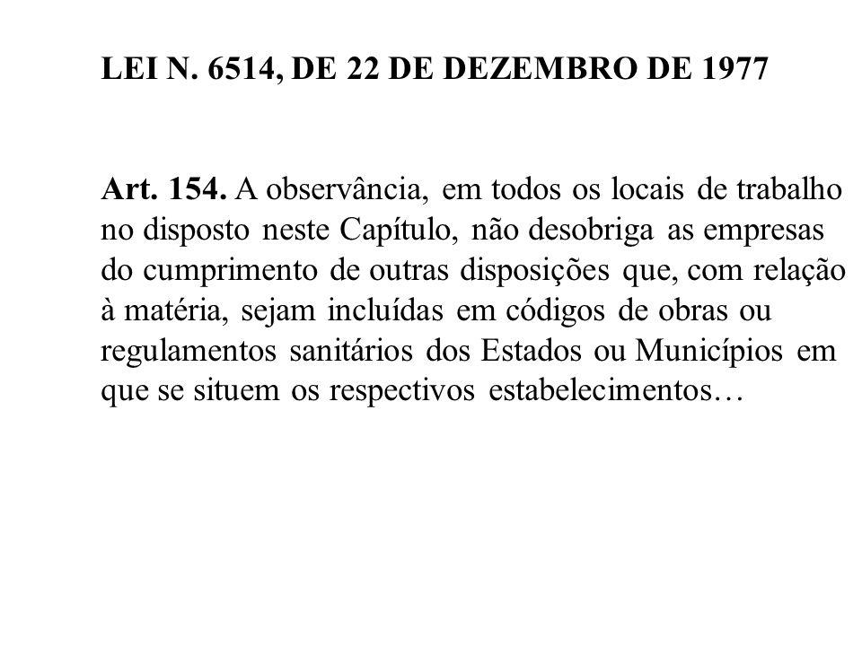 LEI N. 6514, DE 22 DE DEZEMBRO DE 1977 Art. 154. A observância, em todos os locais de trabalho no disposto neste Capítulo, não desobriga as empresas d
