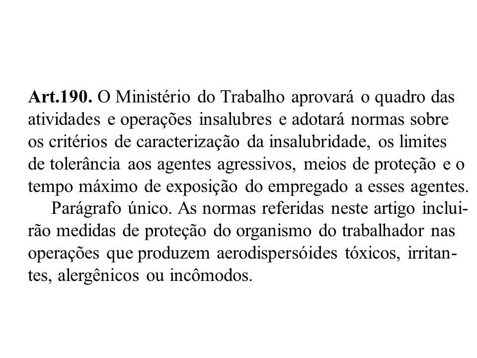 Art.190. O Ministério do Trabalho aprovará o quadro das atividades e operações insalubres e adotará normas sobre os critérios de caracterização da ins