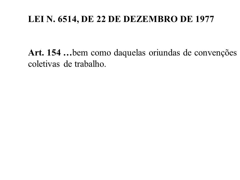 LEI N. 6514, DE 22 DE DEZEMBRO DE 1977 Art. 154 …bem como daquelas oriundas de convenções coletivas de trabalho.