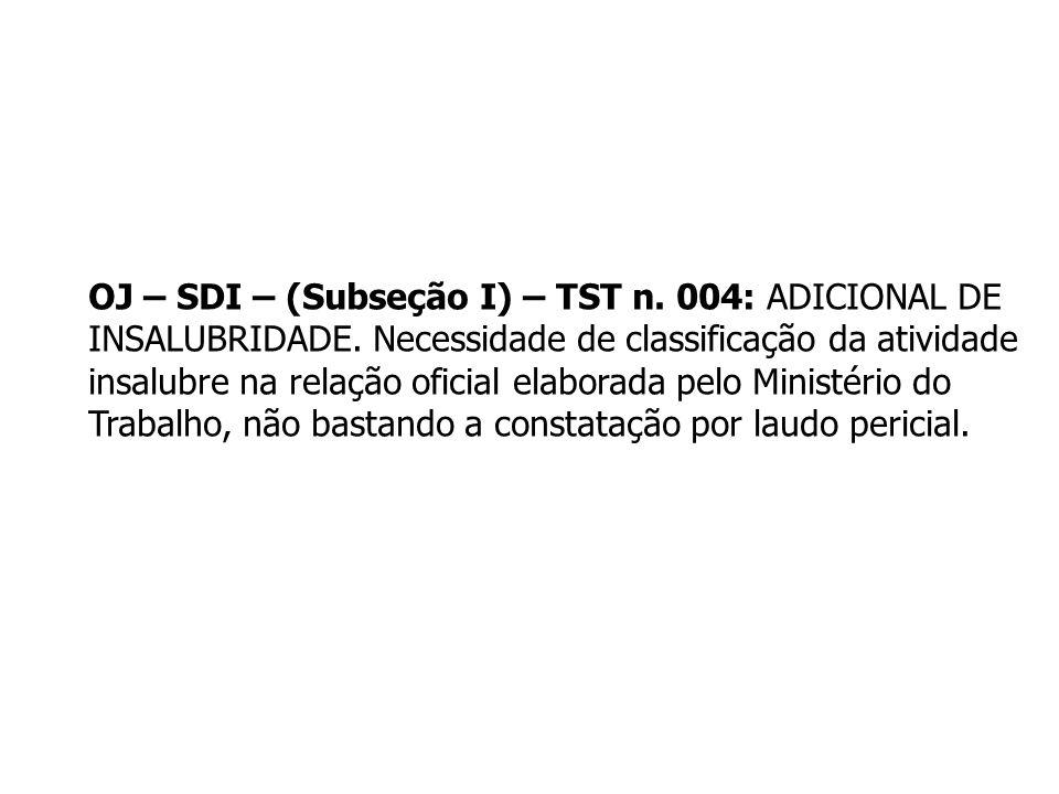 OJ – SDI – (Subseção I) – TST n. 004: ADICIONAL DE INSALUBRIDADE. Necessidade de classificação da atividade insalubre na relação oficial elaborada pel