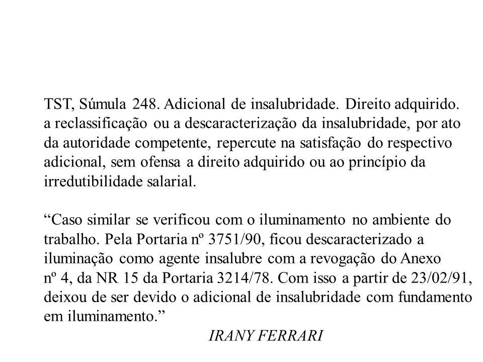 TST, Súmula 248. Adicional de insalubridade. Direito adquirido. a reclassificação ou a descaracterização da insalubridade, por ato da autoridade compe