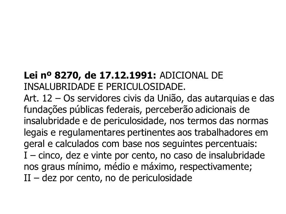 Lei nº 8270, de 17.12.1991: ADICIONAL DE INSALUBRIDADE E PERICULOSIDADE. Art. 12 – Os servidores civis da União, das autarquias e das fundações públic