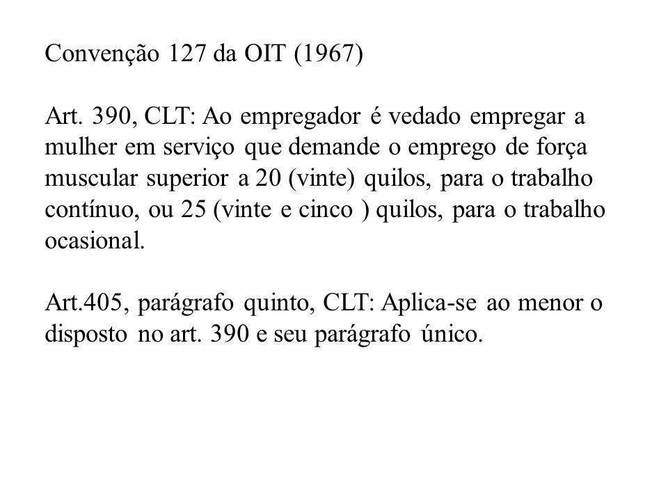Convenção 127 da OIT (1967) Art. 390, CLT: Ao empregador é vedado empregar a mulher em serviço que demande o emprego de força muscular superior a 20 (