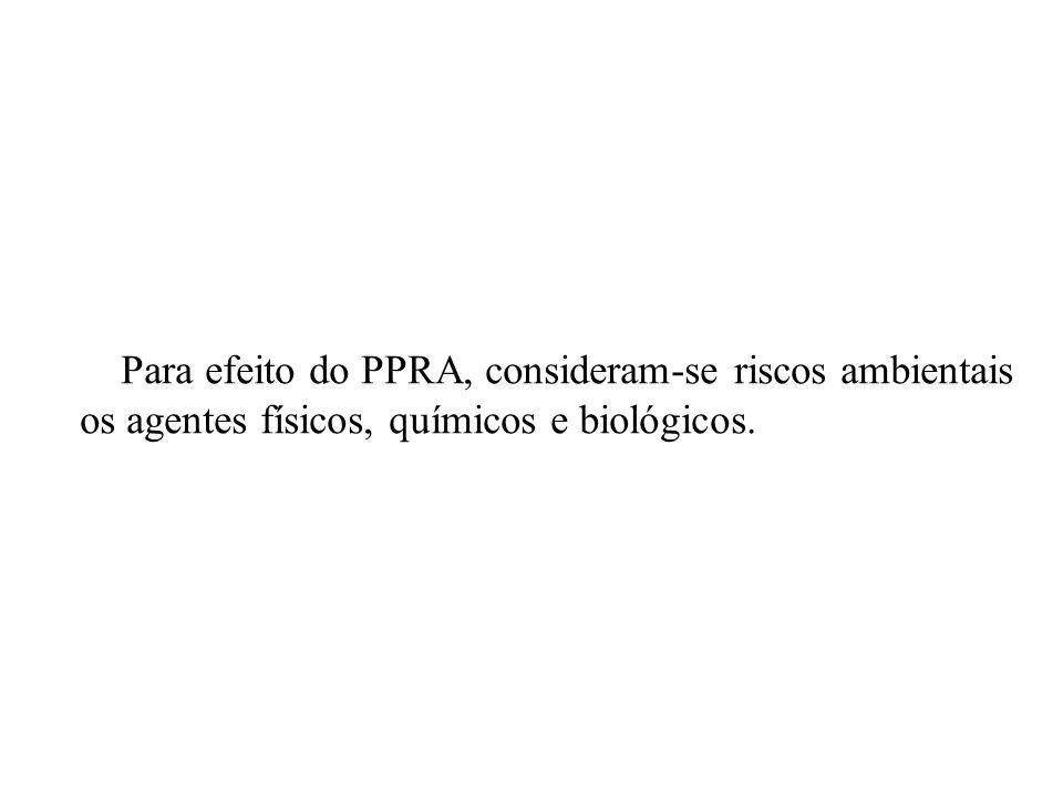 Para efeito do PPRA, consideram-se riscos ambientais os agentes físicos, químicos e biológicos.