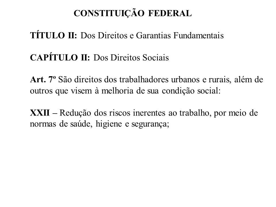 CONSTITUIÇÃO FEDERAL TÍTULO II: Dos Direitos e Garantias Fundamentais CAPÍTULO II: Dos Direitos Sociais Art. 7º São direitos dos trabalhadores urbanos