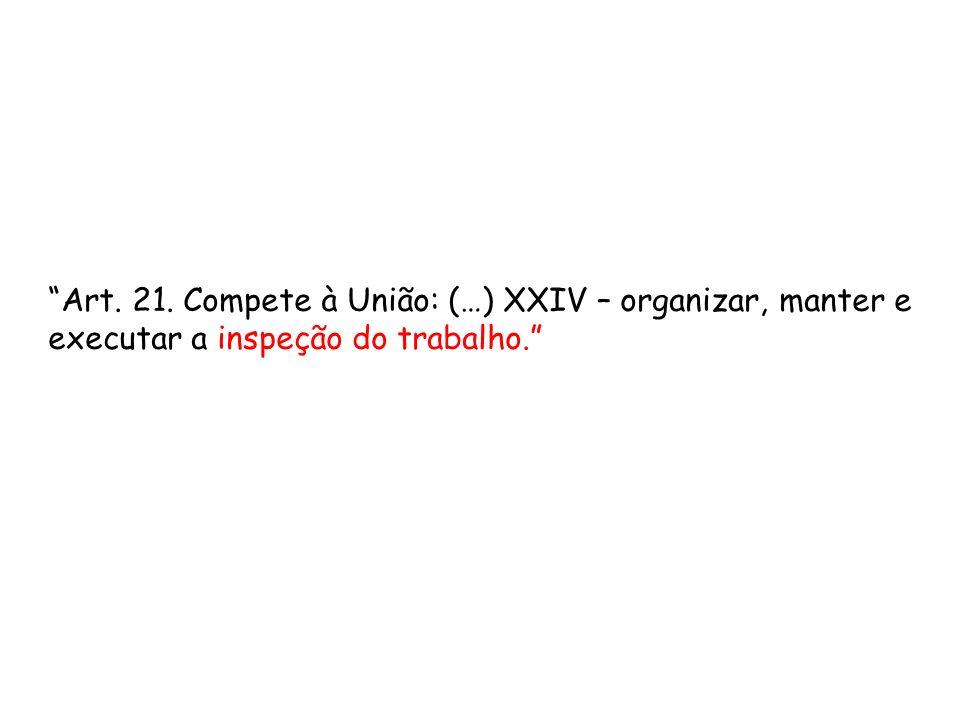 Art. 21. Compete à União: (…) XXIV – organizar, manter e executar a inspeção do trabalho.