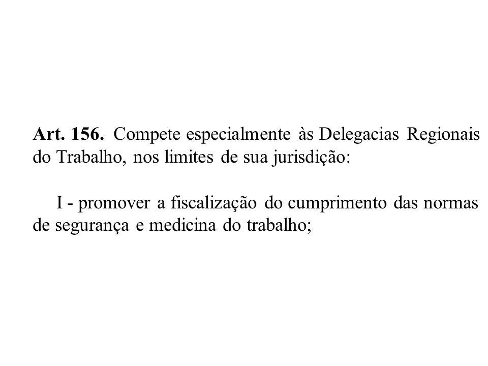 Art. 156. Compete especialmente às Delegacias Regionais do Trabalho, nos limites de sua jurisdição: I - promover a fiscalização do cumprimento das nor