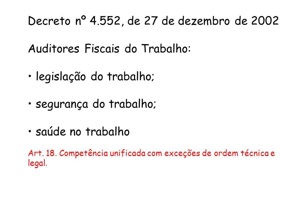 Decreto nº 4.552, de 27 de dezembro de 2002 Auditores Fiscais do Trabalho: legislação do trabalho; segurança do trabalho; saúde no trabalho Art. 18. C