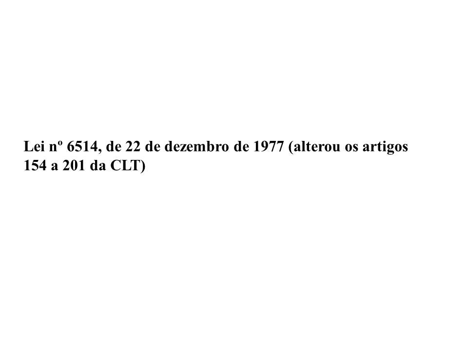 Lei nº 6514, de 22 de dezembro de 1977 (alterou os artigos 154 a 201 da CLT)