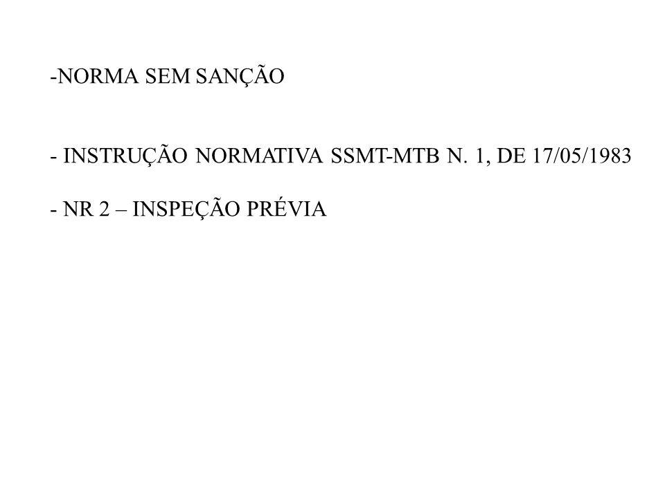 -NORMA SEM SANÇÃO - INSTRUÇÃO NORMATIVA SSMT-MTB N. 1, DE 17/05/1983 - NR 2 – INSPEÇÃO PRÉVIA