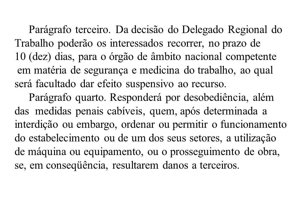 Parágrafo terceiro. Da decisão do Delegado Regional do Trabalho poderão os interessados recorrer, no prazo de 10 (dez) dias, para o órgão de âmbito na