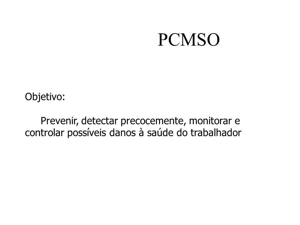 PCMSO Objetivo: Prevenir, detectar precocemente, monitorar e controlar possíveis danos à saúde do trabalhador