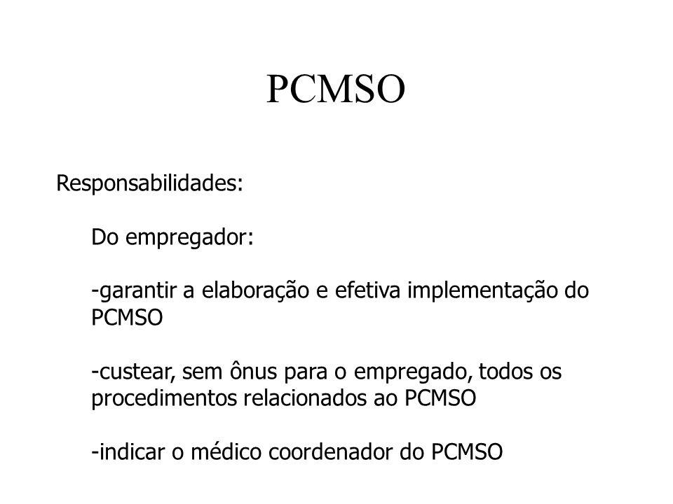 PCMSO Responsabilidades: Do empregador: -garantir a elaboração e efetiva implementação do PCMSO -custear, sem ônus para o empregado, todos os procedim