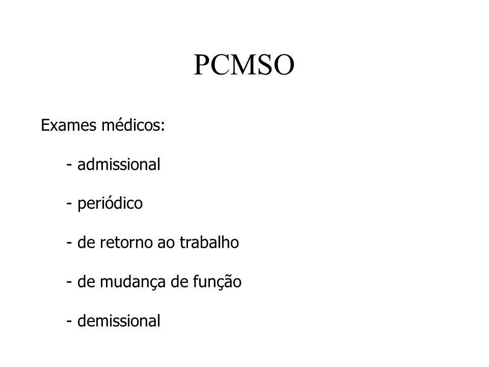PCMSO Exames médicos: - admissional - periódico - de retorno ao trabalho - de mudança de função - demissional