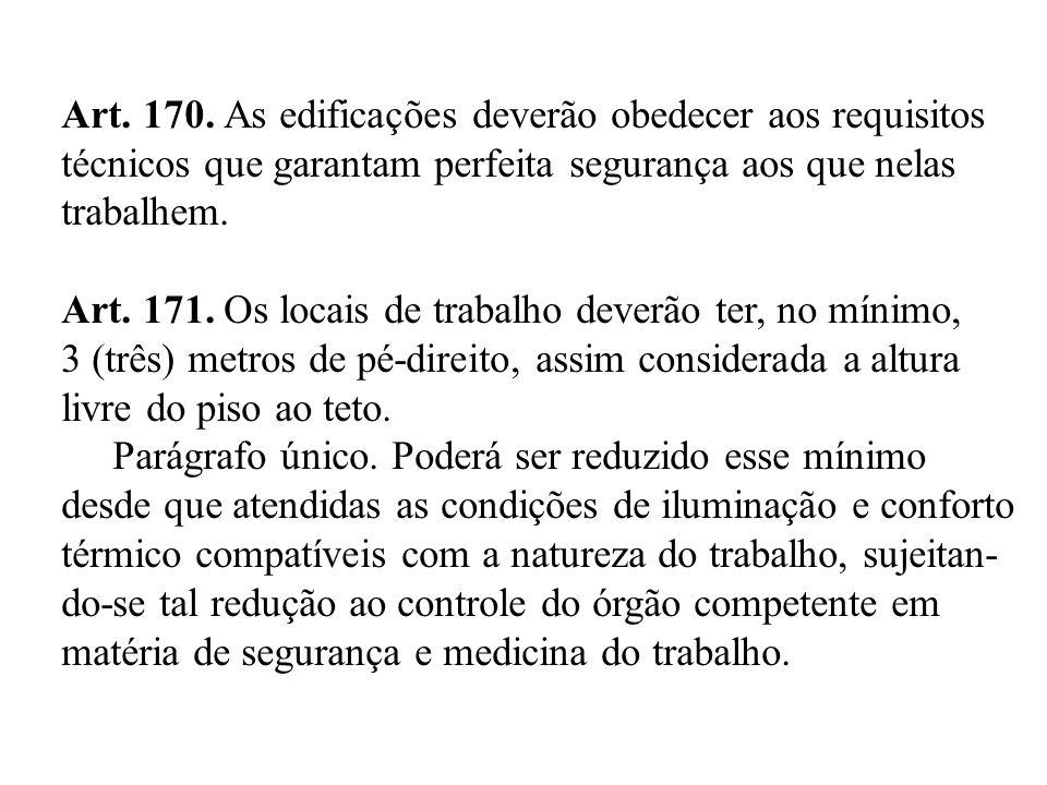 Art. 170. As edificações deverão obedecer aos requisitos técnicos que garantam perfeita segurança aos que nelas trabalhem. Art. 171. Os locais de trab