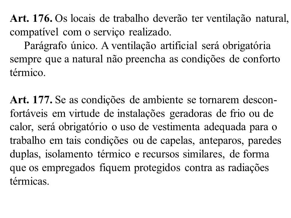 Art. 176. Os locais de trabalho deverão ter ventilação natural, compatível com o serviço realizado. Parágrafo único. A ventilação artificial será obri