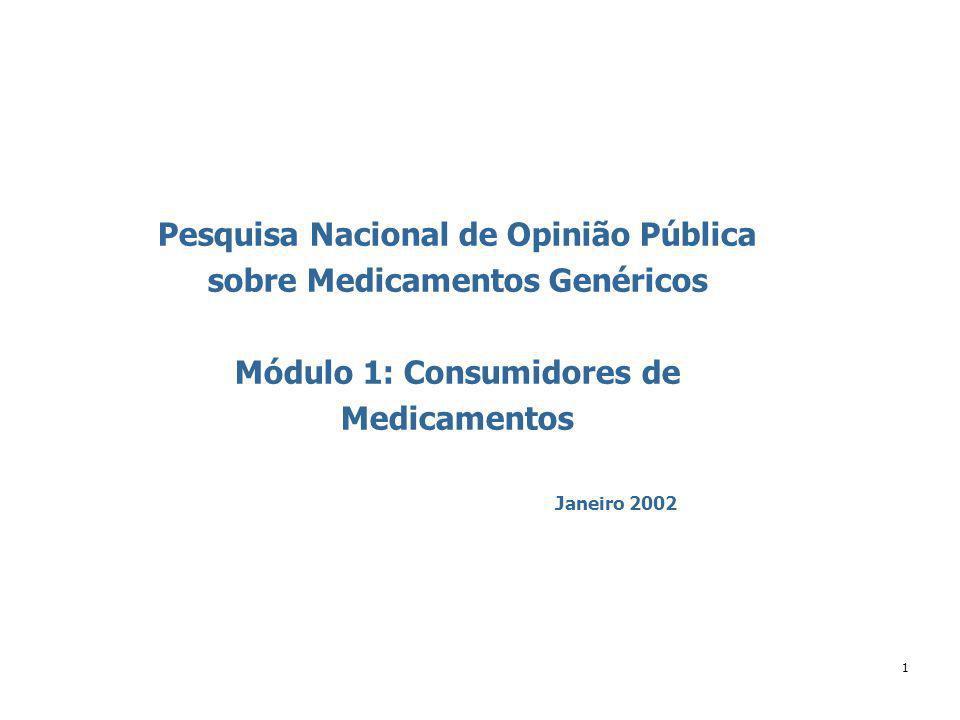 1 Janeiro 2002 Pesquisa Nacional de Opinião Pública sobre Medicamentos Genéricos Módulo 1: Consumidores de Medicamentos