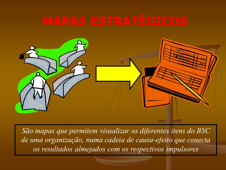 MAPAS ESTRATÉGICOS São mapas que permitem visualizar os diferentes itens do BSC de uma organização, numa cadeia de causa-efeito que conecta os resultados almejados com os respectivos impulsores