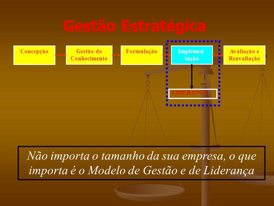 ConcepçãoGestão do Conhecimento FormulaçãoImplemen- tação Avaliação e Reavaliação LIDERANÇA Gestão Estratégica Não importa o tamanho da sua empresa, o que importa é o Modelo de Gestão e de Liderança