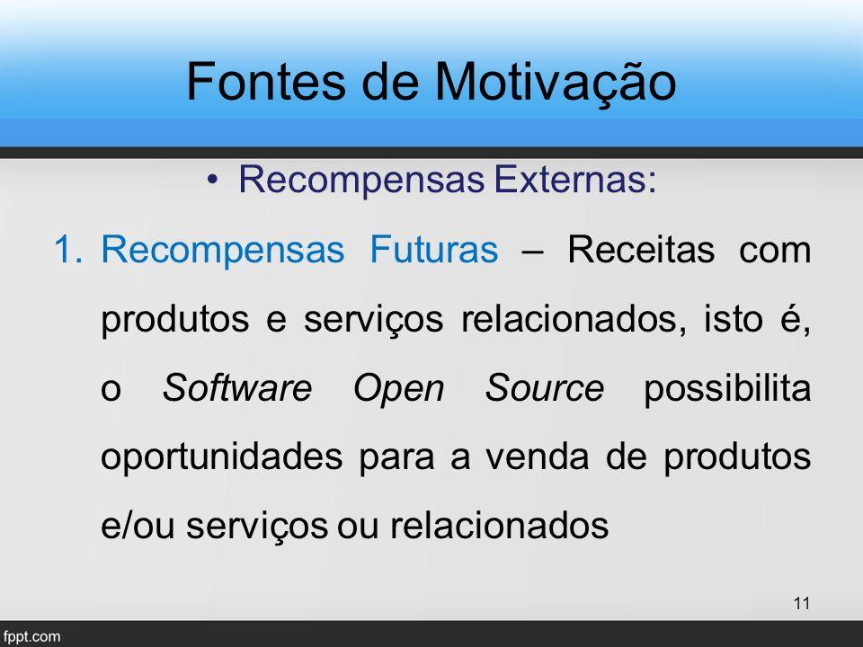 Fontes de Motivação Recompensas Externas: 1.Recompensas Futuras – Receitas com produtos e serviços relacionados, isto é, o Software Open Source possibilita oportunidades para a venda de produtos e/ou serviços ou relacionados 11