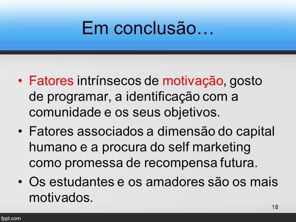 Em conclusão… Fatores intrínsecos de motivação, gosto de programar, a identificação com a comunidade e os seus objetivos.