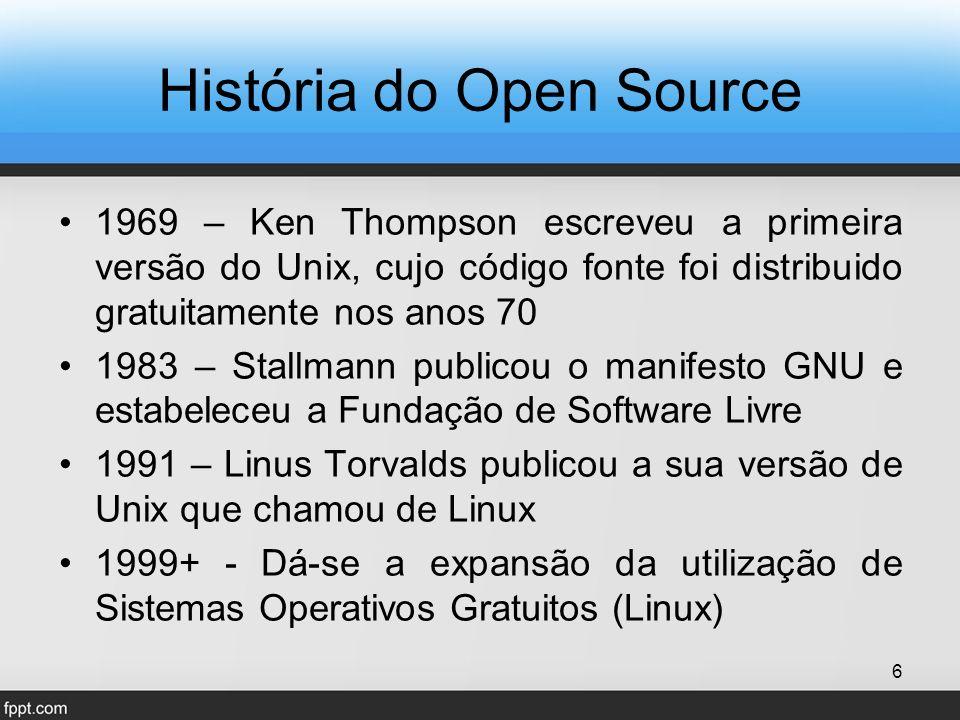 1969 – Ken Thompson escreveu a primeira versão do Unix, cujo código fonte foi distribuido gratuitamente nos anos 70 1983 – Stallmann publicou o manifesto GNU e estabeleceu a Fundação de Software Livre 1991 – Linus Torvalds publicou a sua versão de Unix que chamou de Linux 1999+ - Dá-se a expansão da utilização de Sistemas Operativos Gratuitos (Linux) 6