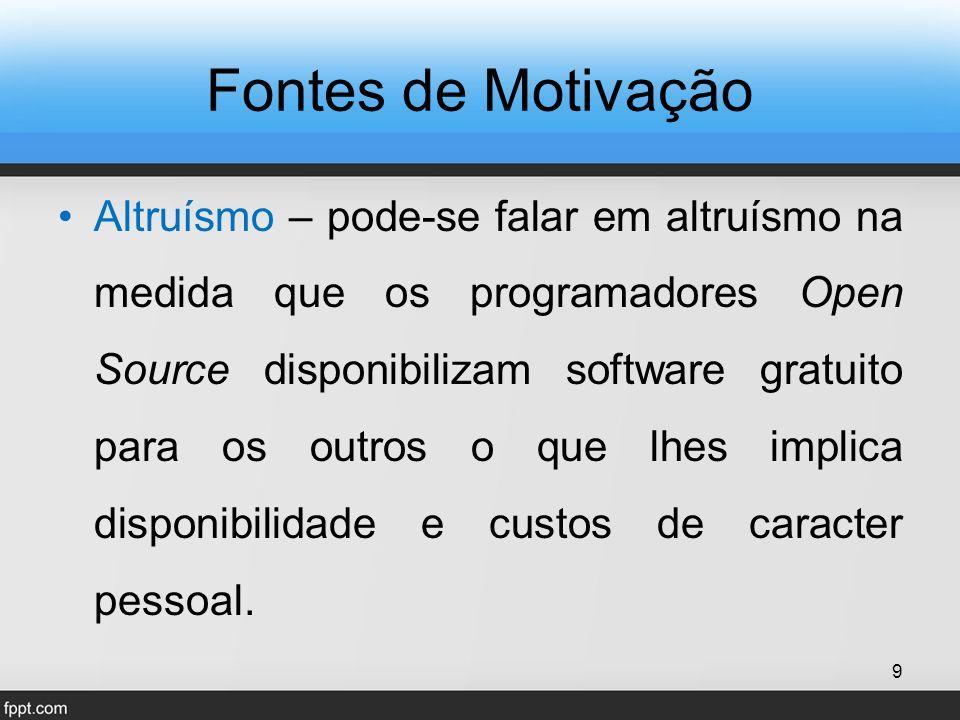 Fontes de Motivação Altruísmo – pode-se falar em altruísmo na medida que os programadores Open Source disponibilizam software gratuito para os outros o que lhes implica disponibilidade e custos de caracter pessoal.