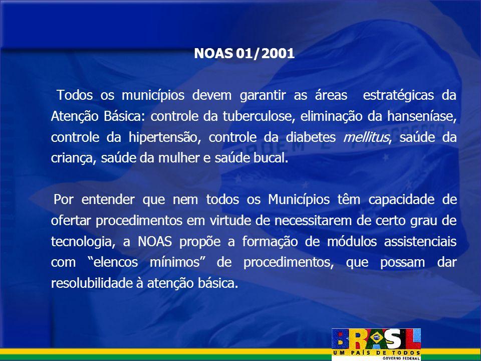 NOAS 01/2001 Todos os municípios devem garantir as áreas estratégicas da Atenção Básica: controle da tuberculose, eliminação da hanseníase, controle d