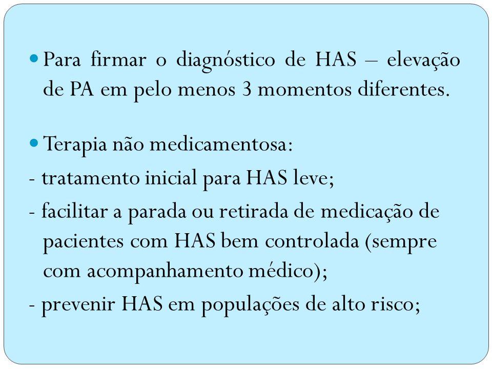 PAPASPAD Normal entre 120 - 129 mmHg entre 80 e 84 mmHg Normal alta entre 130 e 139 mmHg entre 85 e 89 mmHg HAS leve entre 140 e 159 mmHg entre 90 e 9