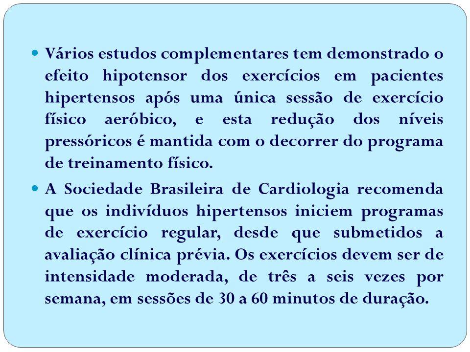Vários estudos complementares tem demonstrado o efeito hipotensor dos exercícios em pacientes hipertensos após uma única sessão de exercício físico aeróbico, e esta redução dos níveis pressóricos é mantida com o decorrer do programa de treinamento físico.