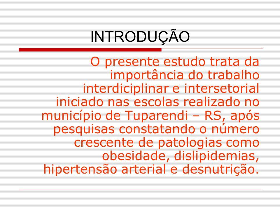 INTRODUÇÃO O presente estudo trata da importância do trabalho interdiciplinar e intersetorial iniciado nas escolas realizado no município de Tuparendi