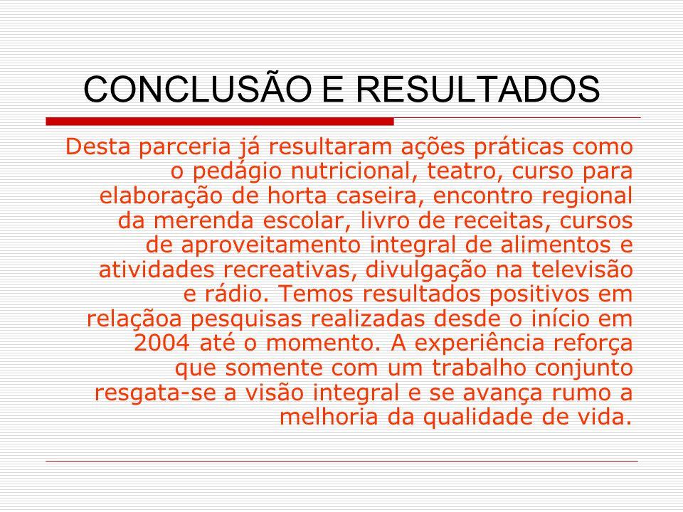 CONCLUSÃO E RESULTADOS Desta parceria já resultaram ações práticas como o pedágio nutricional, teatro, curso para elaboração de horta caseira, encontr