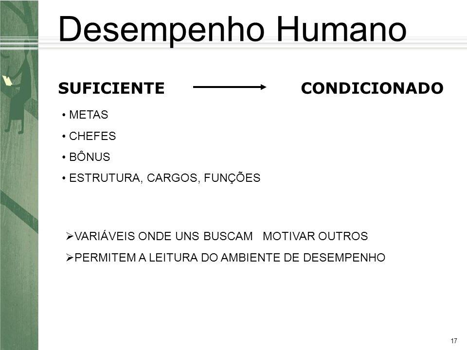 17 SUFICIENTECONDICIONADO METAS CHEFES BÔNUS ESTRUTURA, CARGOS, FUNÇÕES VARIÁVEIS ONDE UNS BUSCAM MOTIVAR OUTROS PERMITEM A LEITURA DO AMBIENTE DE DESEMPENHO Desempenho Humano