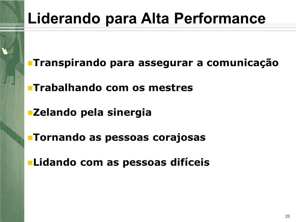 20 Liderando para Alta Performance Transpirando para assegurar a comunicação Trabalhando com os mestres Zelando pela sinergia Tornando as pessoas corajosas Lidando com as pessoas difíceis