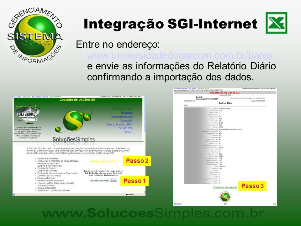 Integração SGI-Internet Entre no endereço: www.universidadedogarcom.com.br/bares e envie as informações do Relatório Diário confirmando a importação dos dados.