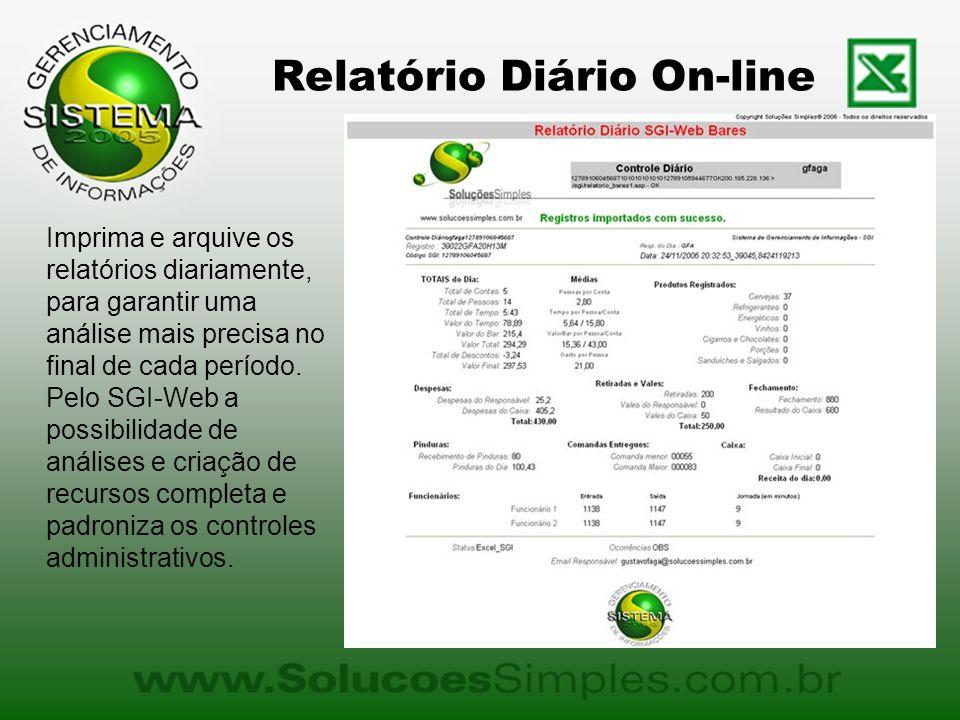 Relatório Diário On-line Imprima e arquive os relatórios diariamente, para garantir uma análise mais precisa no final de cada período. Pelo SGI-Web a