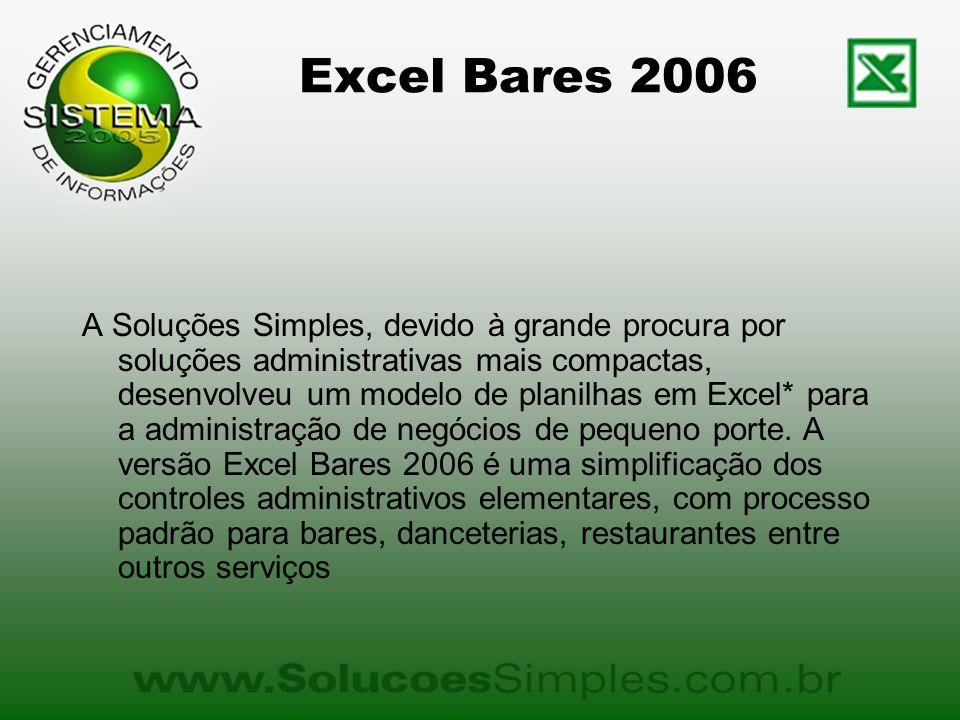 Excel Bares 2006 A Soluções Simples, devido à grande procura por soluções administrativas mais compactas, desenvolveu um modelo de planilhas em Excel* para a administração de negócios de pequeno porte.