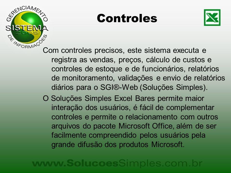 Controles Com controles precisos, este sistema executa e registra as vendas, preços, cálculo de custos e controles de estoque e de funcionários, relatórios de monitoramento, validações e envio de relatórios diários para o SGI®-Web (Soluções Simples).
