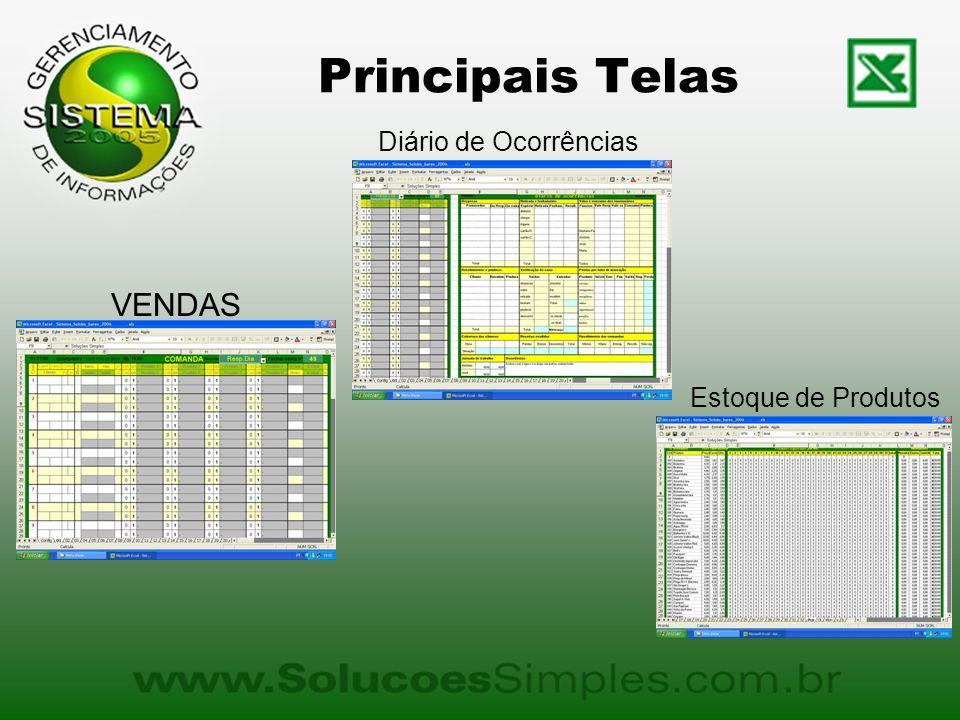 Principais Telas VENDAS Diário de Ocorrências Estoque de Produtos