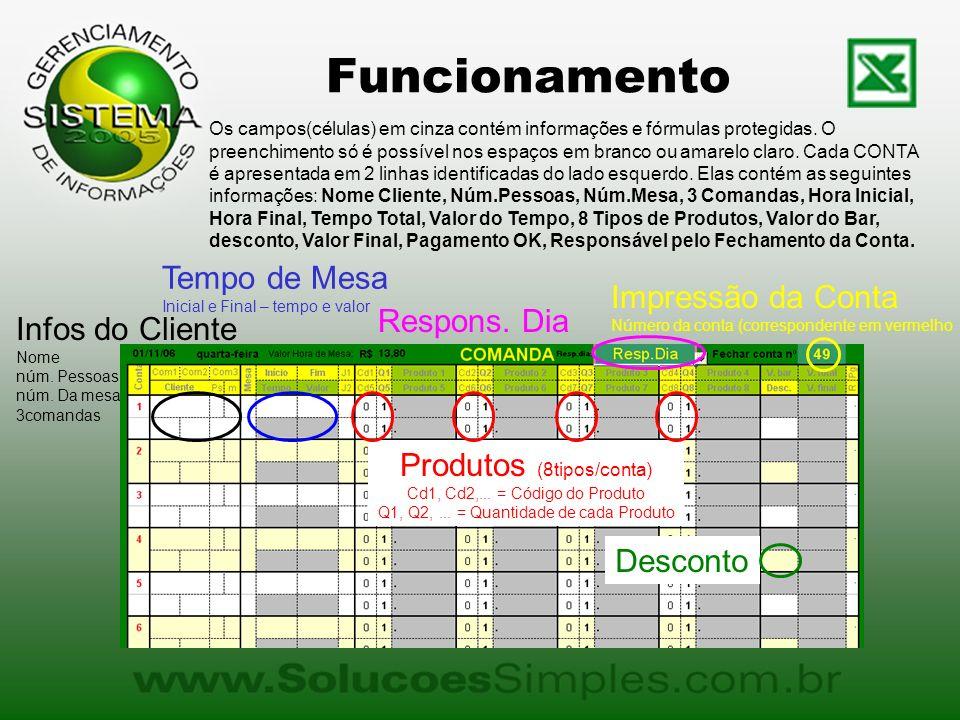 Funcionamento Os campos(células) em cinza contém informações e fórmulas protegidas. O preenchimento só é possível nos espaços em branco ou amarelo cla