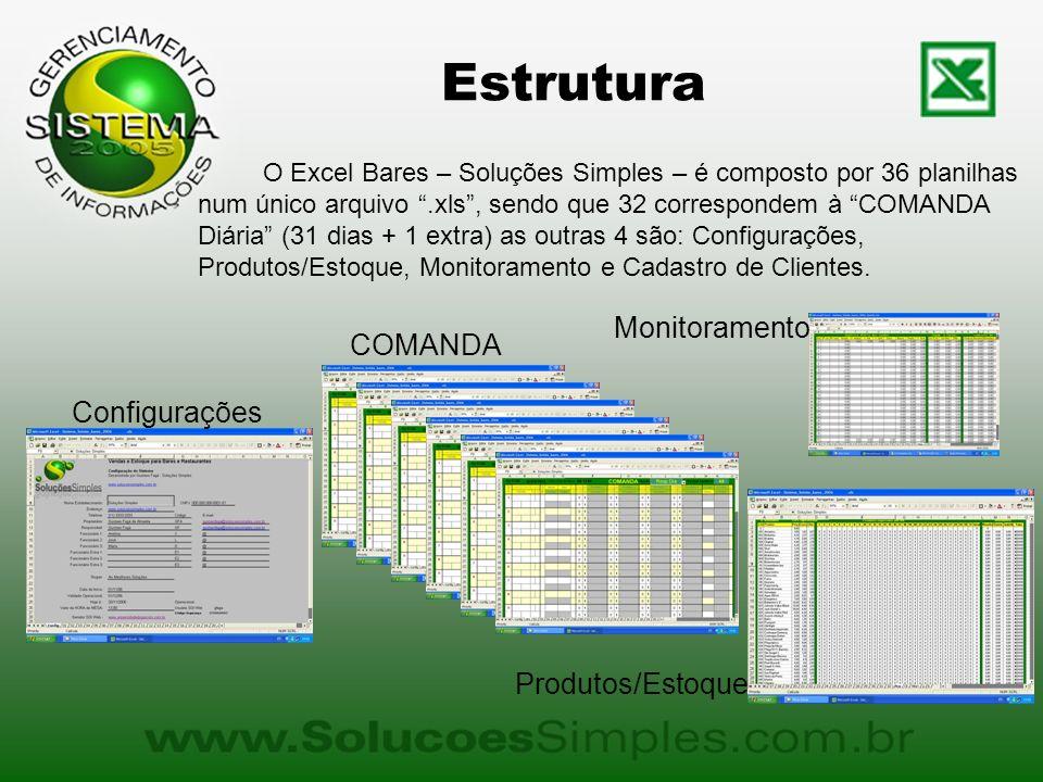 Estrutura O Excel Bares – Soluções Simples – é composto por 36 planilhas num único arquivo.xls, sendo que 32 correspondem à COMANDA Diária (31 dias + 1 extra) as outras 4 são: Configurações, Produtos/Estoque, Monitoramento e Cadastro de Clientes.