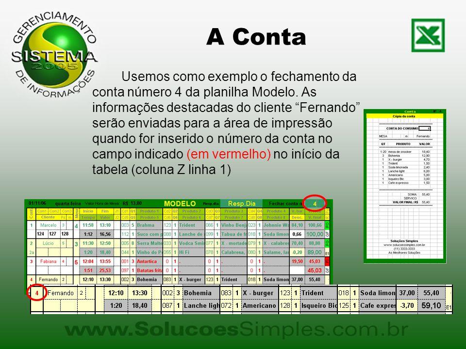 A Conta Usemos como exemplo o fechamento da conta número 4 da planilha Modelo. As informações destacadas do cliente Fernando serão enviadas para a áre