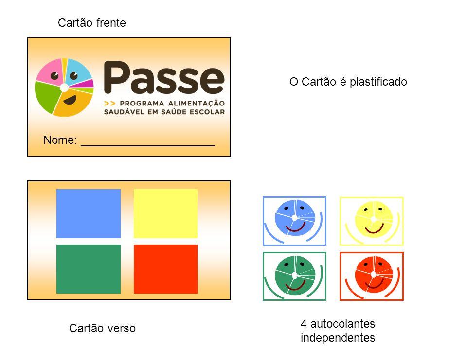 Cartão frente O Cartão é plastificado 4 autocolantes independentes Cartão verso Nome: _____________________