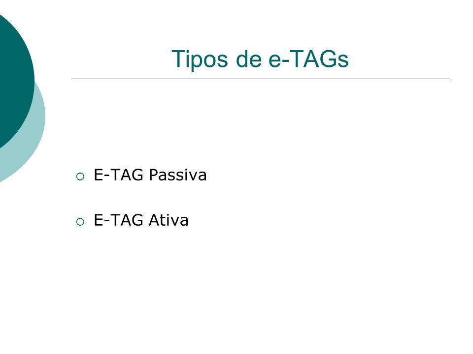 Tipos de e-TAGs E-TAG Passiva E-TAG Ativa
