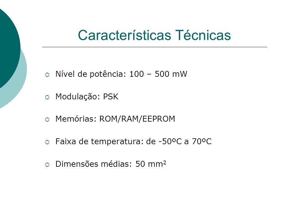 Características Técnicas Nível de potência: 100 – 500 mW Modulação: PSK Memórias: ROM/RAM/EEPROM Faixa de temperatura: de -50ºC a 70ºC Dimensões média