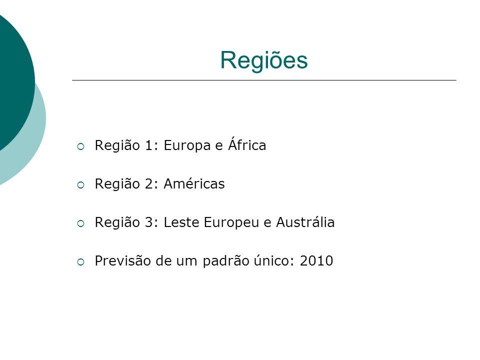 Regiões Região 1: Europa e África Região 2: Américas Região 3: Leste Europeu e Austrália Previsão de um padrão único: 2010